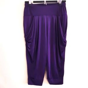Silky plum color stretchy cropped harem pants
